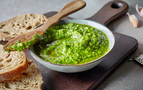 bowl of basil pesto - Stock Photo - Images