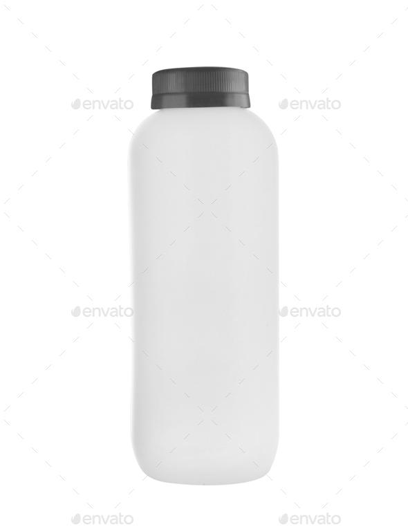 White plastic bottle isolated on white - Stock Photo - Images