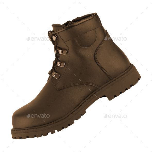 Men's classic brown leather shoes isolated - Stock Photo - Images