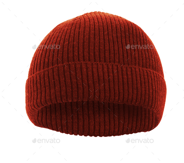 Red knitted wool hat isolated on white - Stock Photo - Images