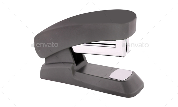 Blue stapler isolated on white background - Stock Photo - Images