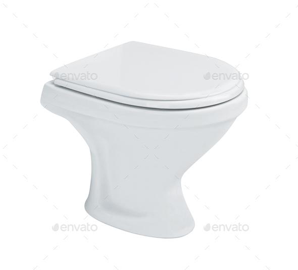 White toilet bowl isolated on white - Stock Photo - Images