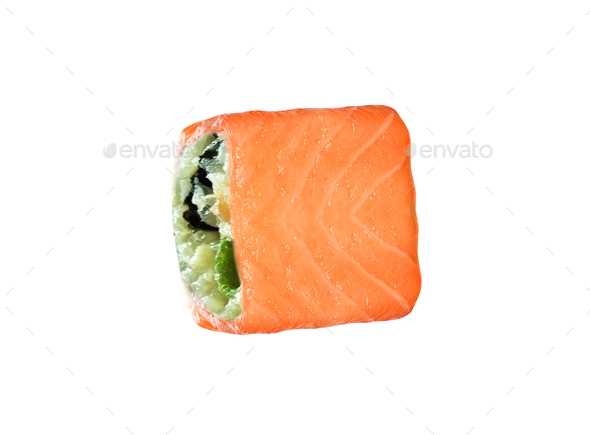 Japanese sushi rolls isolated on white background - Stock Photo - Images