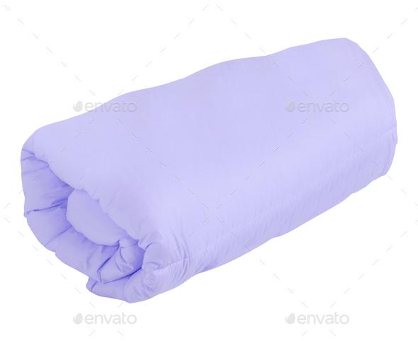 purple blanket isolated - Stock Photo - Images