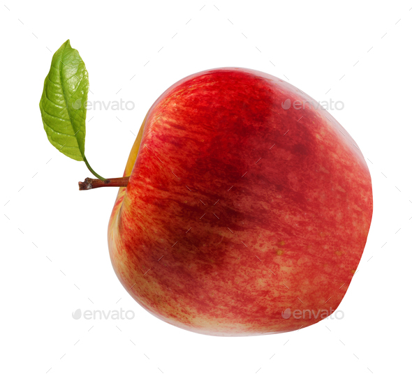 Red apple on white background - Stock Photo - Images