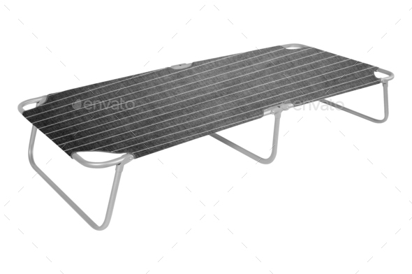Camp bed isolated on white - Stock Photo - Images