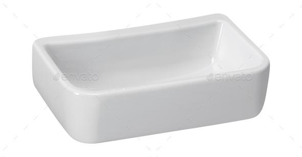 White empty ceramics baking dish on white - Stock Photo - Images