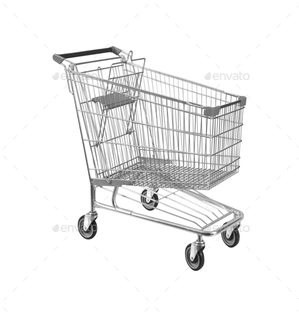 Shopping cart, isolated on white - Stock Photo - Images