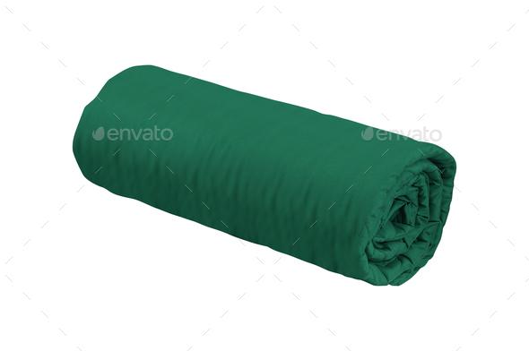 green fleece blanket roll - Stock Photo - Images