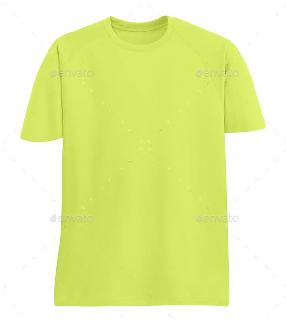 yellow T-shirt on white background - Stock Photo - Images