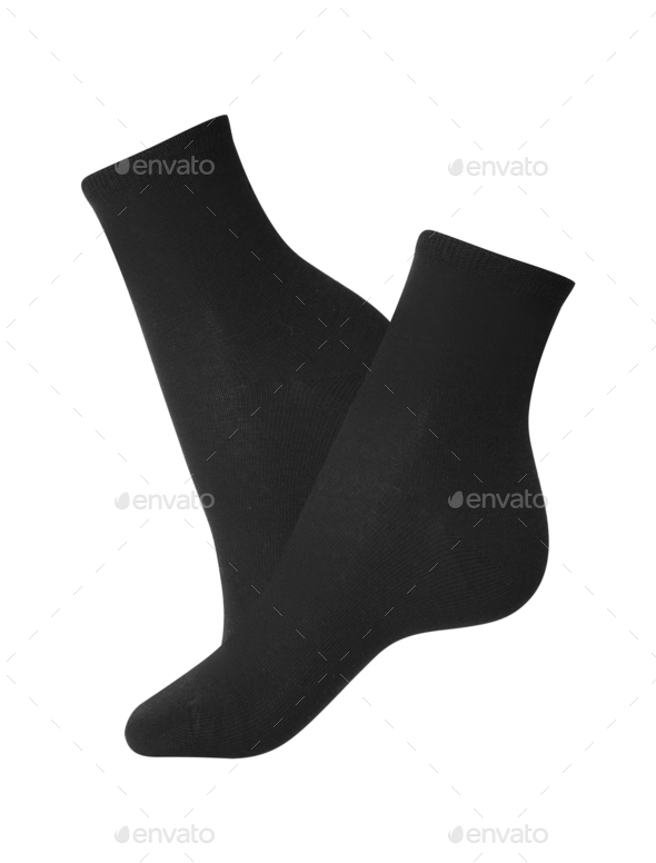 Black socks close-up on a white background - Stock Photo - Images