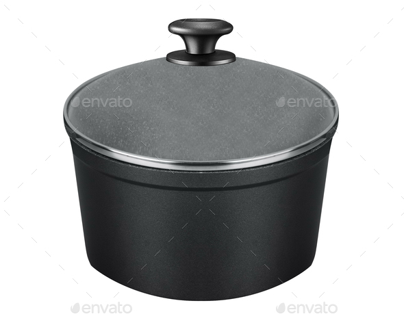 stainless steel cooking pot isolated - Stock Photo - Images