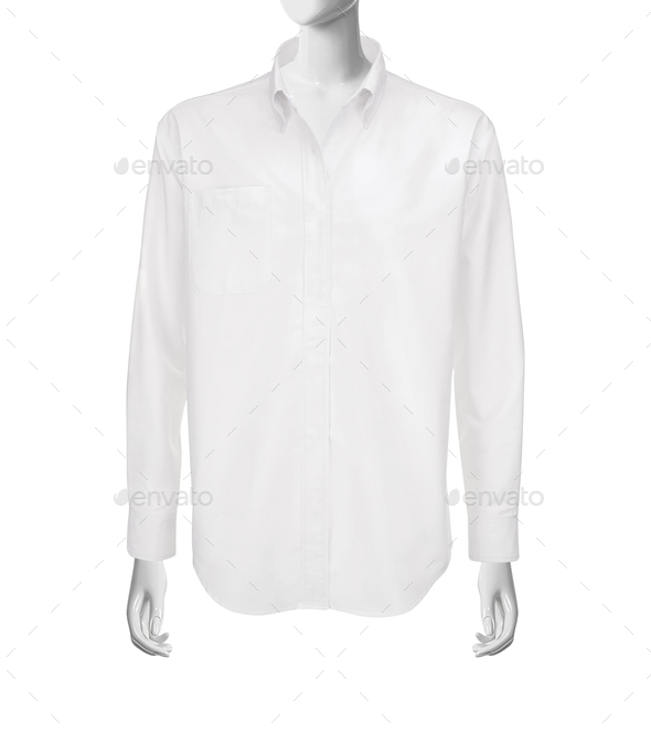 white shirt with long sleeves isolated on white background - Stock Photo - Images