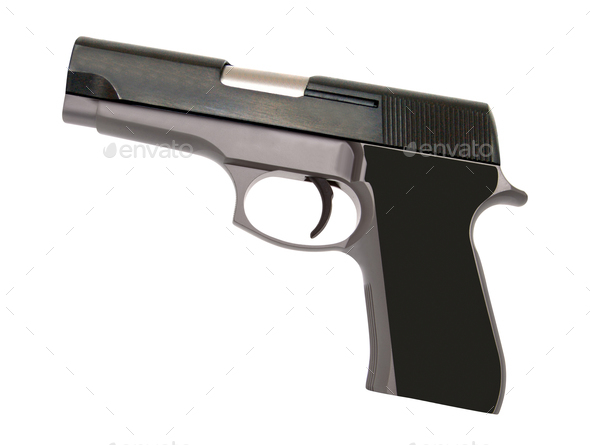 stainless steel automatic pistol gun - Stock Photo - Images
