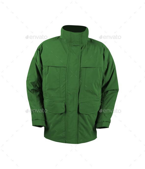 green jacket isolated on white - Stock Photo - Images