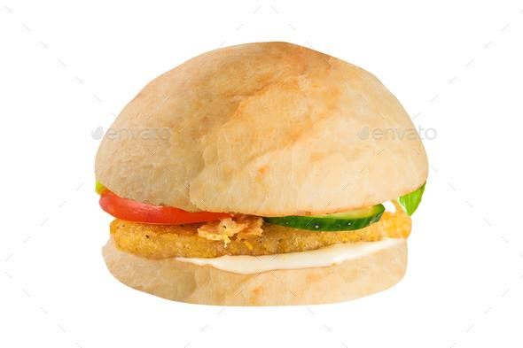 Big hamburger on white background - Stock Photo - Images