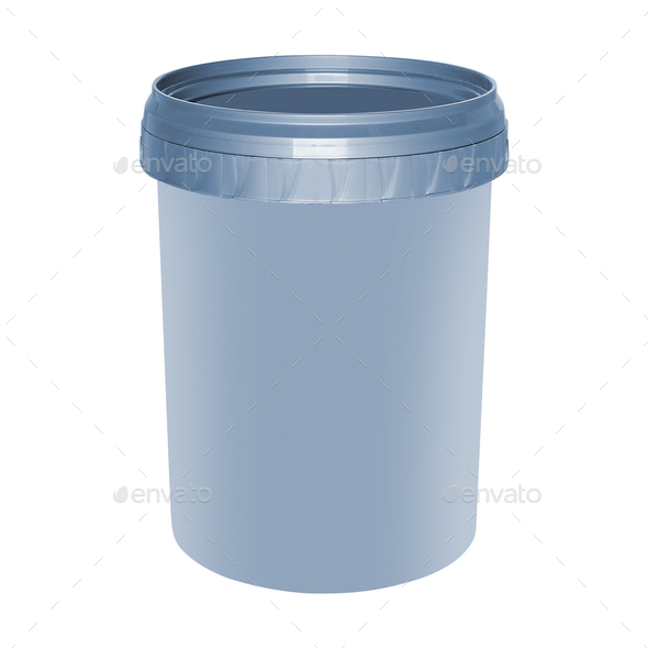 White round plastic container isolated on white - Stock Photo - Images
