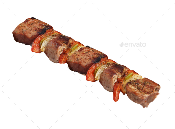 chicken and vegetable kebab - Stock Photo - Images