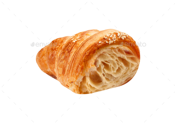 Fresh Croissant Isolated on White - Stock Photo - Images