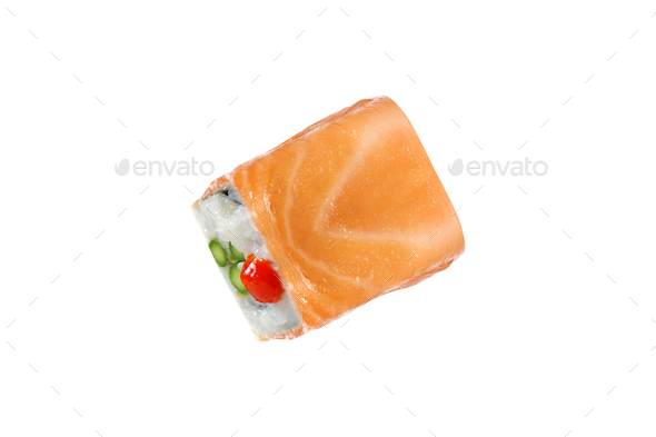 Japanese sushi rolls isolated on white - Stock Photo - Images