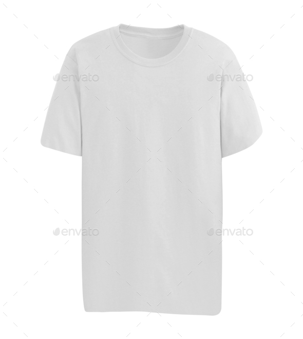 white T-shirt isolated on white - Stock Photo - Images