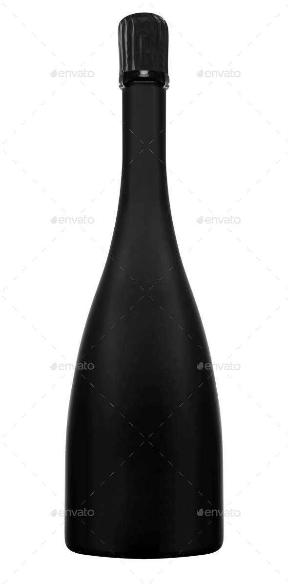 Bottle of champagne isolated on white - Stock Photo - Images