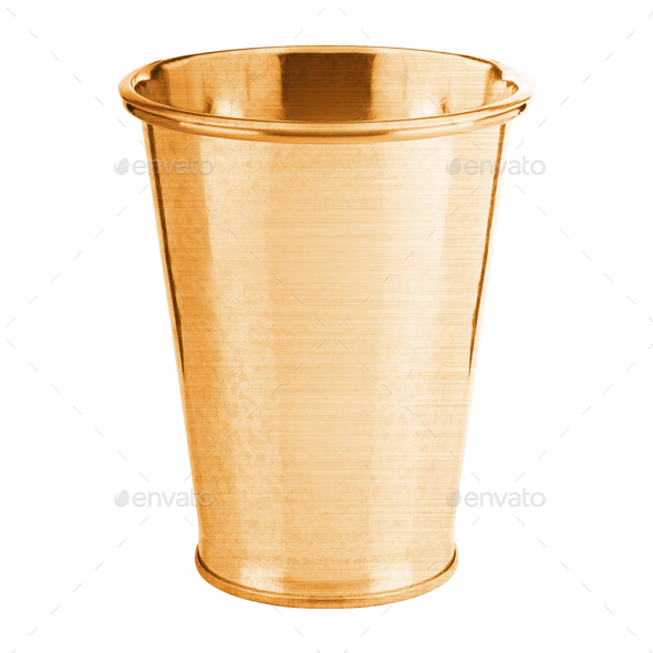 golden bucket isolated on white background - Stock Photo - Images