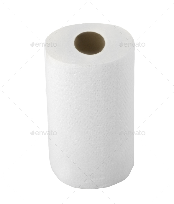paper towel isolated on white background - Stock Photo - Images