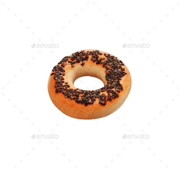 Bagel with poppy seeds isolated on white background - Stock Photo - Images