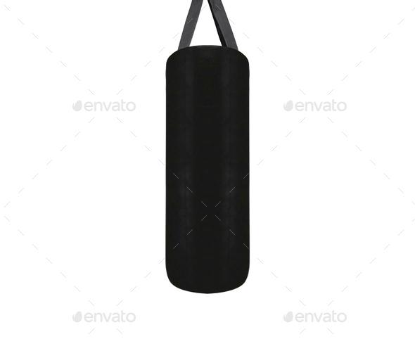 Big leather black punching bag - Stock Photo - Images