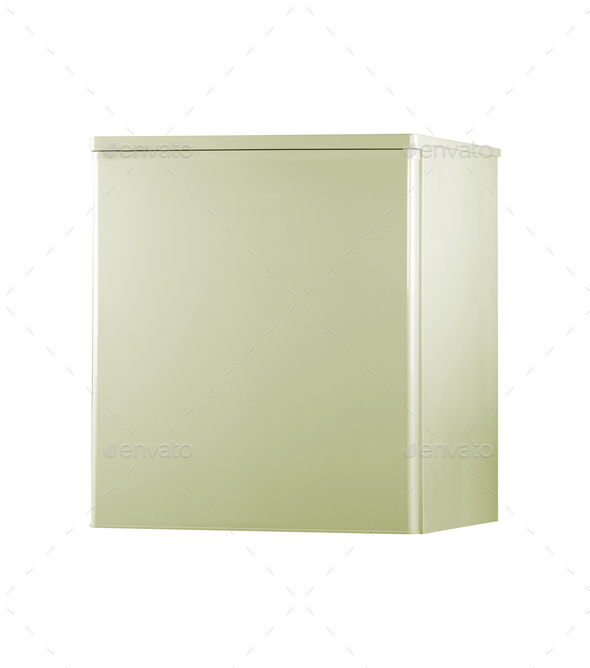 small stainless steel refrigerator isolated on white - Stock Photo - Images
