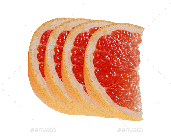 Slice of grapefruit citrus fruit isolated on white - Stock Photo - Images