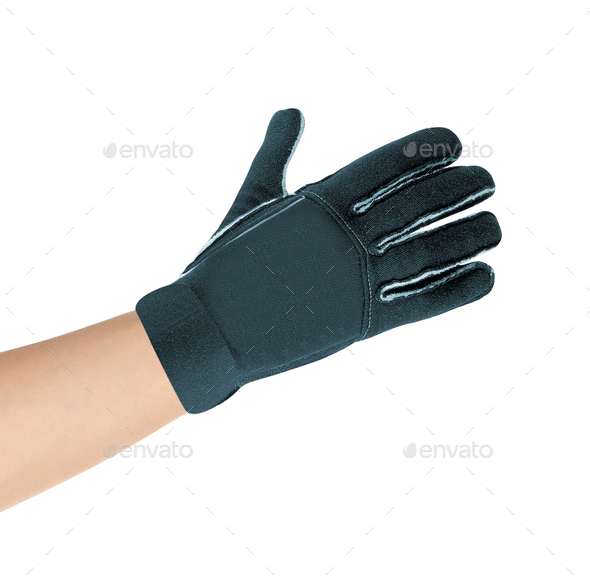Gray glove on hand - Stock Photo - Images