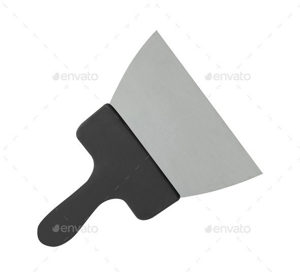 putty knife with black plastic handle - Stock Photo - Images