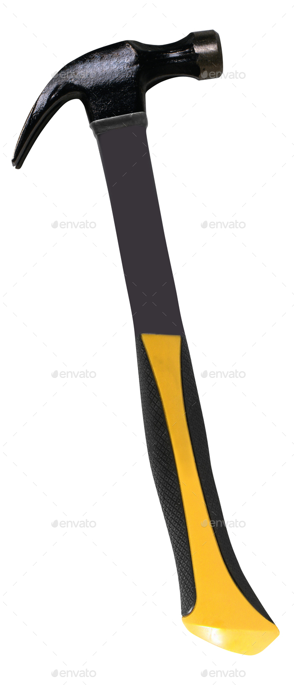 yellow hammer on white background - Stock Photo - Images