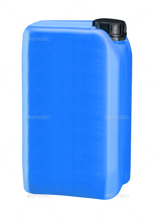 blue plastic oil can isolated on white - Stock Photo - Images