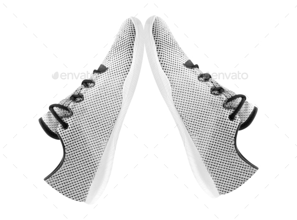 White sneakers isolated on white background - Stock Photo - Images