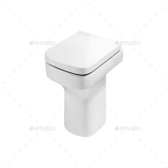 White ceramic toilet on white - Stock Photo - Images
