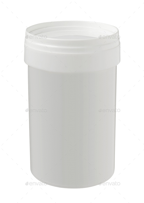 White Tub Paint Plastic Bucket Container. - Stock Photo - Images