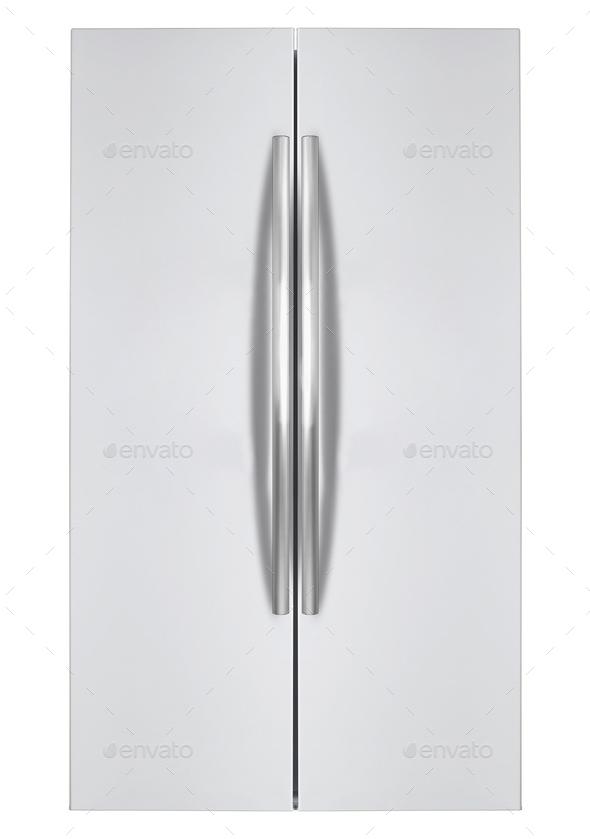 Modern Refrigerator isolated on white - Stock Photo - Images