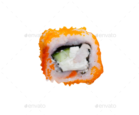 traditional fresh japanese sushi rolls on a white background - Stock Photo - Images