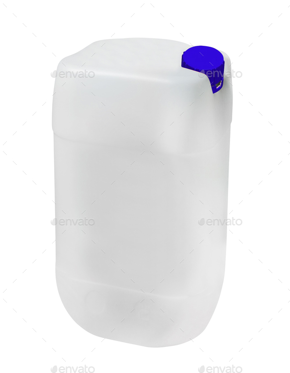 Blank plastic canister for motor oil isolated on white - Stock Photo - Images