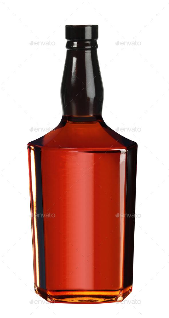 Full whiskey, cognac, brandy bottle isolated on white background - Stock Photo - Images