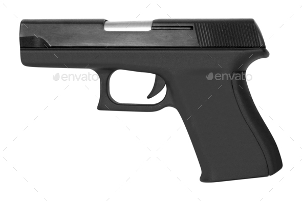 automatic pistol gun firearm for sport or personal protection or defense isolated  - Stock Photo - Images