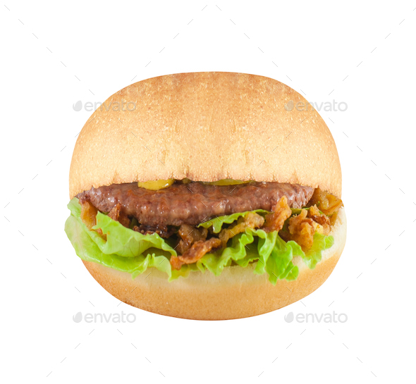 Big hamburger on white background - Stock Photo - Images