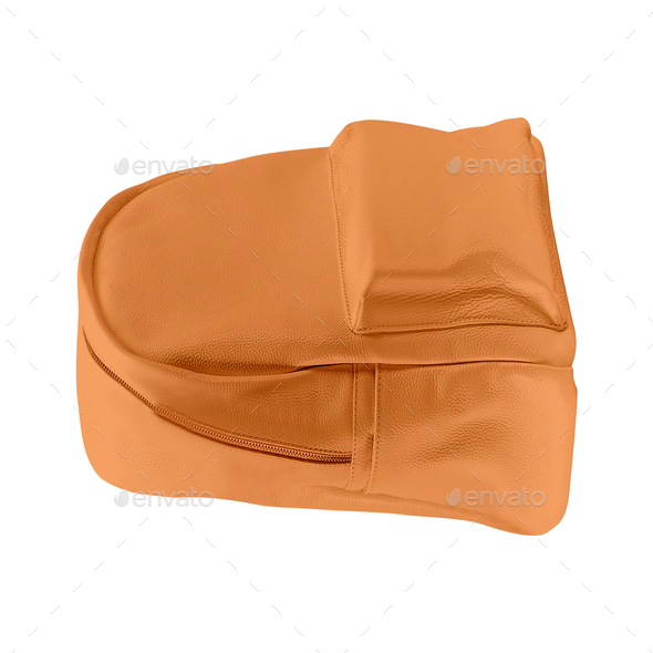 Orange color backpack isolated on white - Stock Photo - Images