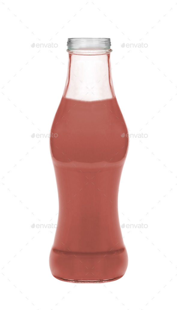 Strawberry milk isolated on white background - Stock Photo - Images
