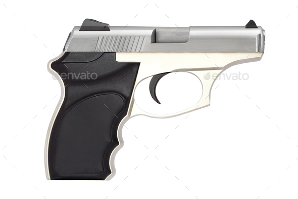 automatic pistol gun firearm for sport or personal protection or defense isolated on white - Stock Photo - Images