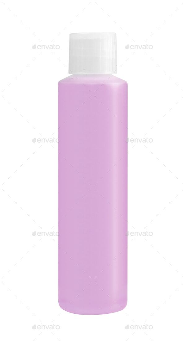 bottle for shampoo plastic purple color - Stock Photo - Images