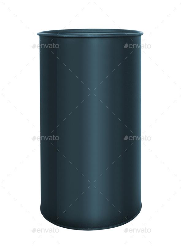 black metallic oil barrel on white - Stock Photo - Images